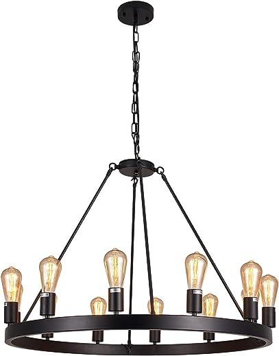"LIANSHUN Rustic Wagon Wheel Farmhouse Island Light, Retro Industrial Pendant Light, 34.45"" Round Iron 12-Lights Chandelier Light Fixtures for Kitchen, Living Room, Hotel, Villa, Black Finish"