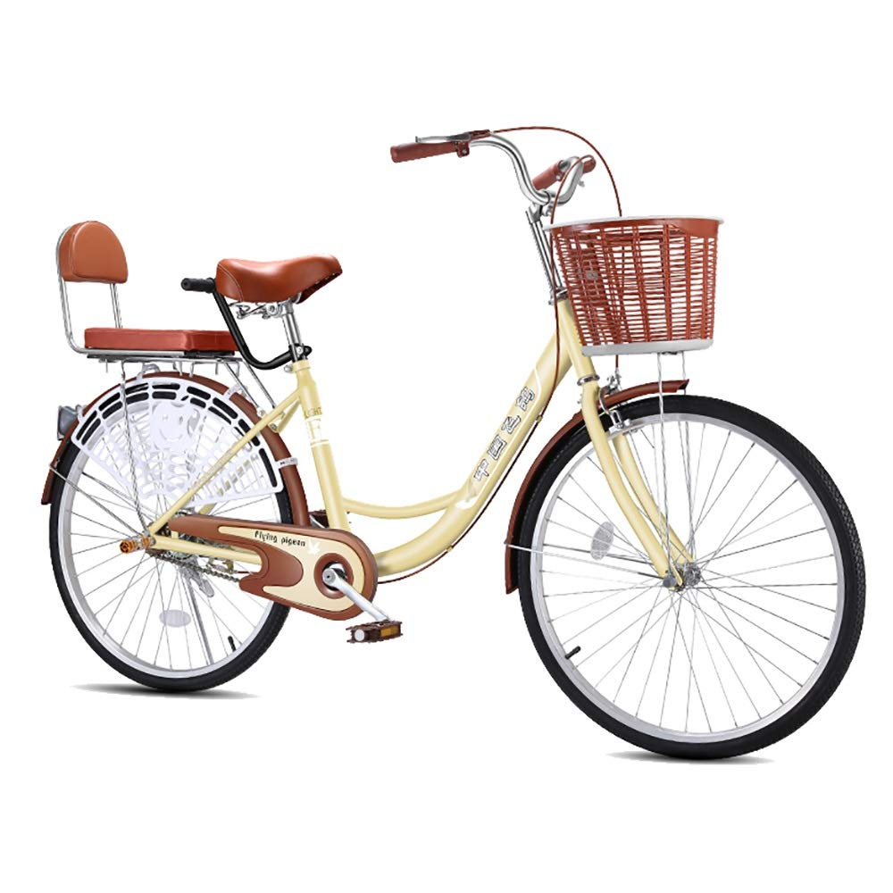 Simple adult women's bicycle, High hardness and high carbon steel outdoor 24'' male/female student single speed bike, Outdoor urban road bikes - brown