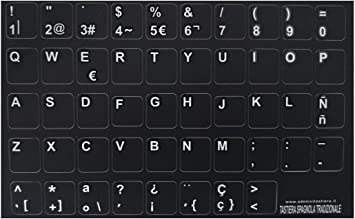 adesivitastiera. It – pegatinas teclado suelo negro letras Amarillo (Español) y blanco (Latin)