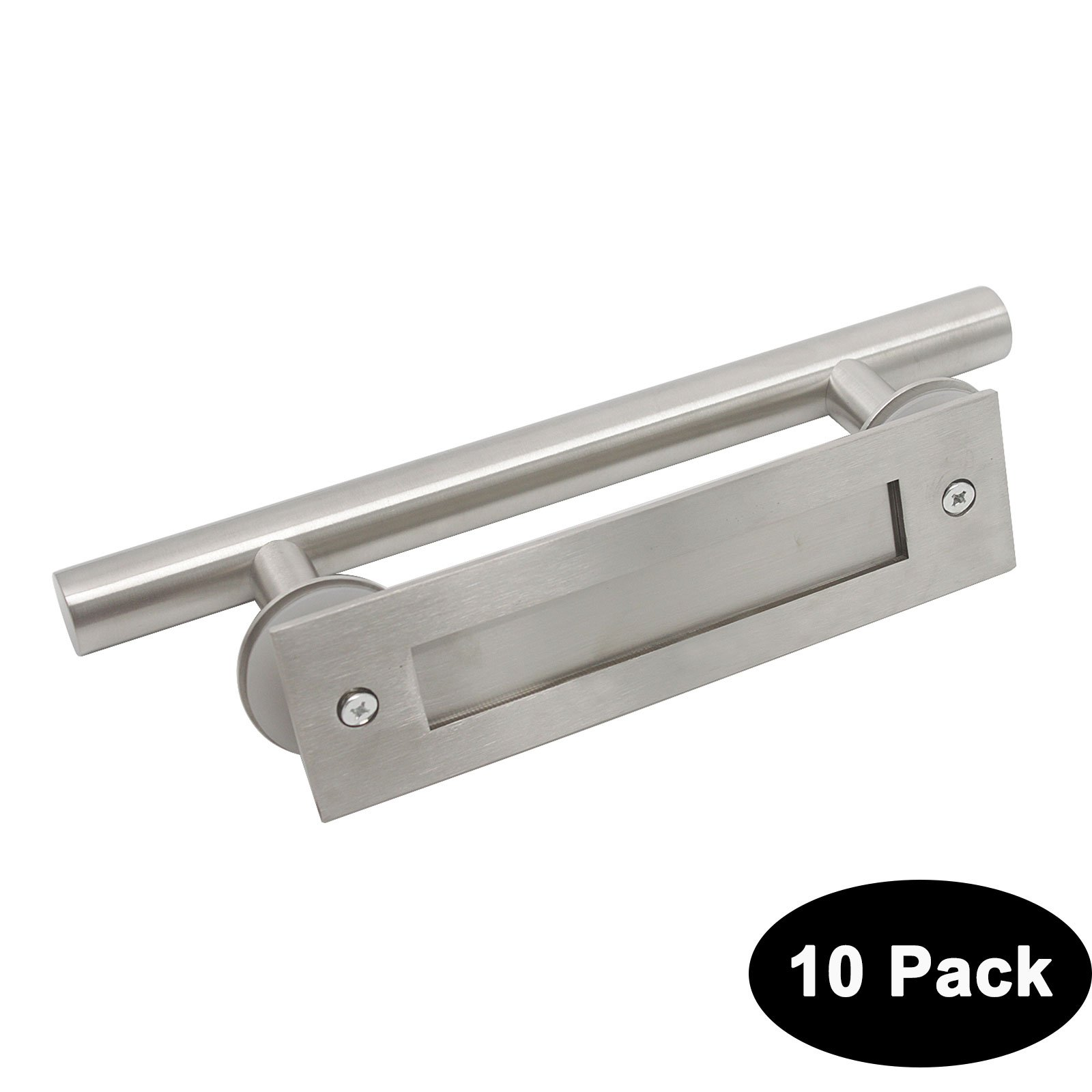 Probrico 304 Stainless Steel Recessed Flush Door Handles Set Brushed Nickel Large Gate Wood Glass Door Pull T Bar 12'' 305mm 10 Pack