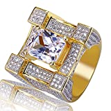 TOPGRILLZ Hip Hop 14K Gold Plated Zircon Cushion Diamond Square Punky Ring for Men (8)