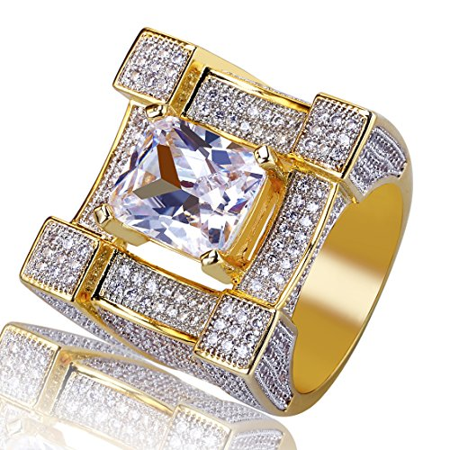 TOPGRILLZ Hip Hop 14K Gold Plated Zircon Cushion Diamond Square Punky Ring for Men (10) ()