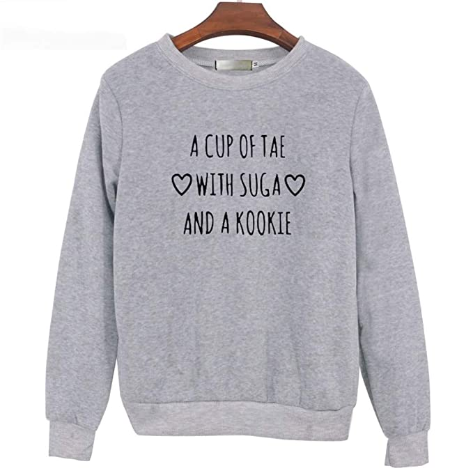 Sweatshirts Autumn Long Sleeve A Cup of Tae with Suga Printed Pullovers Womens Fleece Sweatshirt XXL at Amazon Womens Clothing store: