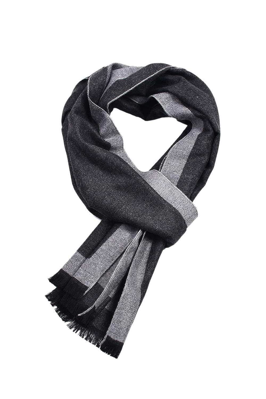 Hombres bufanda de lana de invierno cá lido suave clá sico Cashmere Feel bufandas ESWM2024-Blue-F