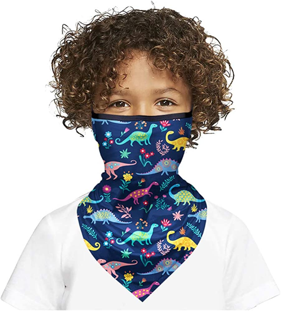 Fueyou Childrens Non-Woven Face Bandanas Cartoon Print Ear Loop Face Scarves Protective for Kids 50PCS 3 Ply