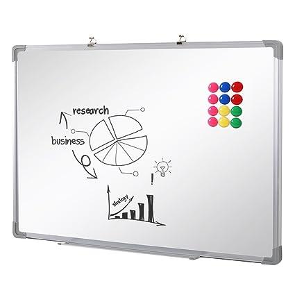 SwanSea oficina pizarra blanca magnética con pen tray y 12 Magnetes 110x80cm