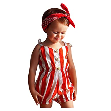 0-4Years,SO-buts Summer Infant Baby Girls Summer Clothes Sleeveless Solid Lacing Bow Print Bodysuit Romper Jumpsuit