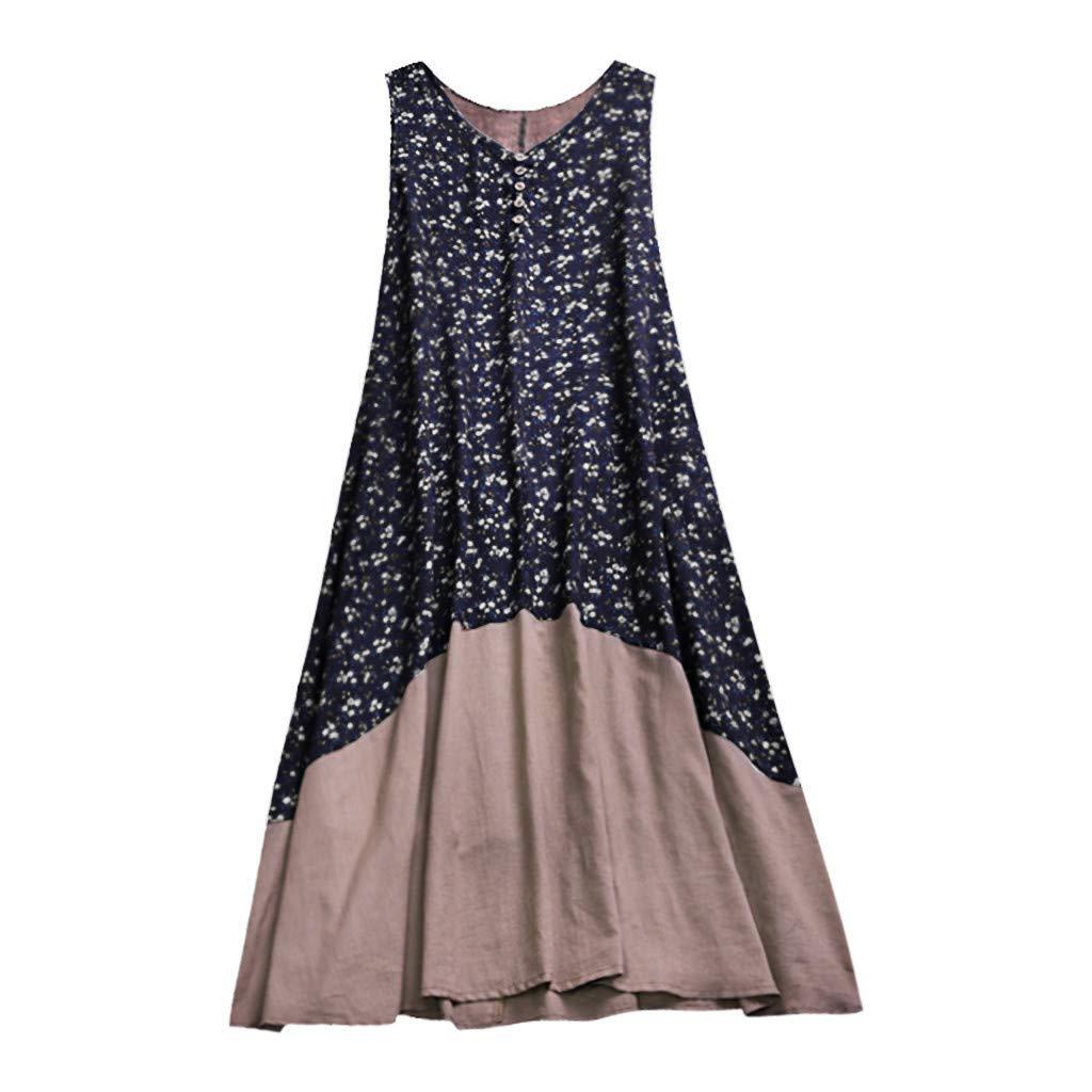 Euone Dress Clearance, Plus Size Women Vintage Patchwork Casual Loose Boho Long Plus Size Retro Maxi Dress
