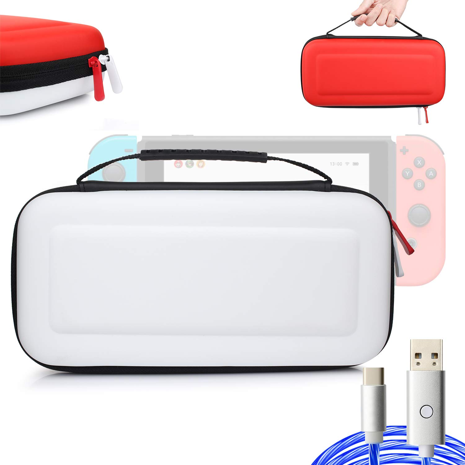momen Nintendo Switch Case for Nintendo Switch Console & Accessories with 10 Games Cartridges; EVA Switch Case with 6.5 FT Led Cable - White & Red