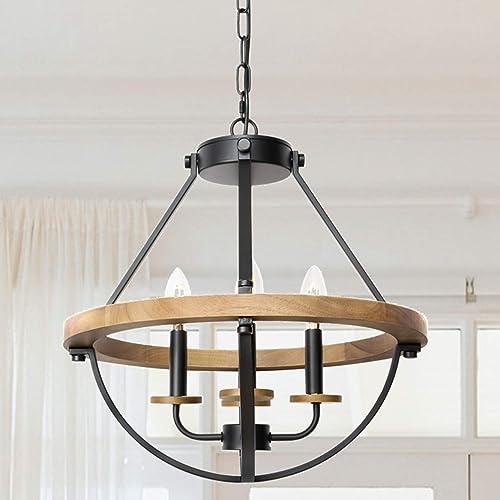 WOAEKR 4-Light Rustic Wood Farmhouse Chandelier,Adjustable Height Lantern Pendant Light