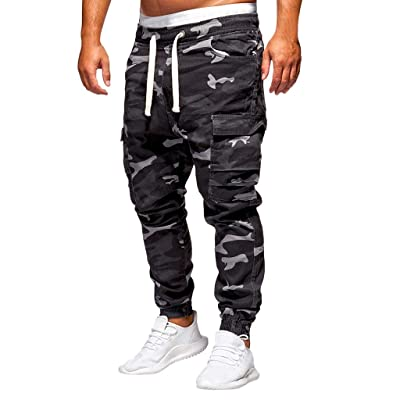 Men's Camo Cargo Pants|Men Relaxed Fit Straight Leg Multi Pocket Ankle Length Trousers | Casual Drawstring Jogger Sweatpants: Clothing