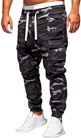 WOCACHI Mens Jogger Pants Sweatpants Skinny Elastic Zip Pockets Sports Trousers Drawstring Camouflage Cargo Pants