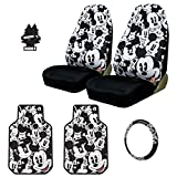 New Design 5 Pieces Disney Mickey Mouse Car Seat Covers Floor Mats Steering Wheel Cover Accessories