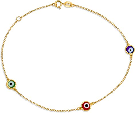 Good Luck Charm Jewelry Evil Eye Anklet Anklet Chain Sterling Silver Beaded Ankle Bracelet Evil Eye CZ Jewelry Protection Anklet