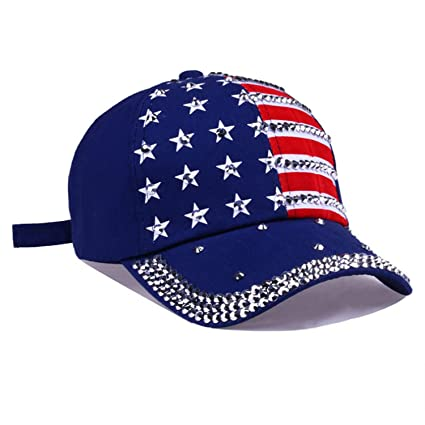 Men Women Baseball Cap USA Flag Diamond Rivet Cap Unisex Adjustable Rap Rock Hats Fashion Gorras, Blue at Amazon Womens Clothing store: