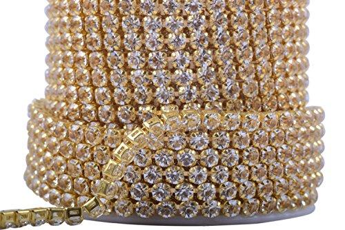 KAOYOO 1 Roll 5 Yards Imitation Zircon Rhinestones Close Chain Beaded Trim,SS16/4.0mm/0.16,Imitation Zircon Beaded with Golden Chain