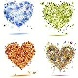 "Hearts Decal Design Seasonal Set of 4 Fused Glass or Ceramics 3"" Med."