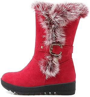 BNXXINGMU Stivali da Neve Invernali Stivali da Neve A Altezza Aumentata con Stivali CaldiInvernalicon Plateau Caldo Rosso 10.5