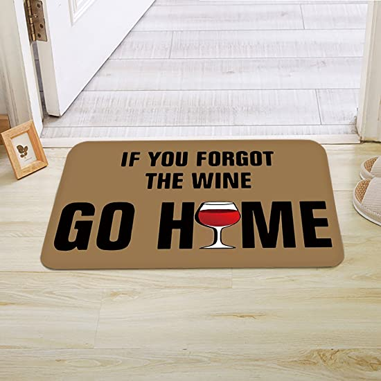 Infinidesign If You Forgot The Wine Doormat Entrance Rug Floor Indoor Bathroom Kitchen Dirt Trapper Washable Door Mat with Non Slip Backing 20 L x 32 W