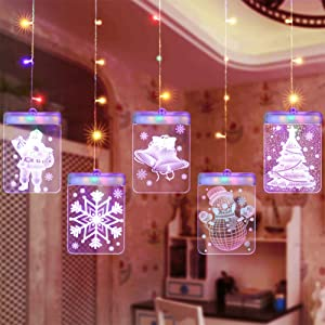 Updated on 2020 LED 3D Curtain Lights, USB Charging Window Curtain String Light, Indoor Décor Lights, Bedroom Decoration Lights for Christmas Wedding Party Hotel (Christmas, Colorful)