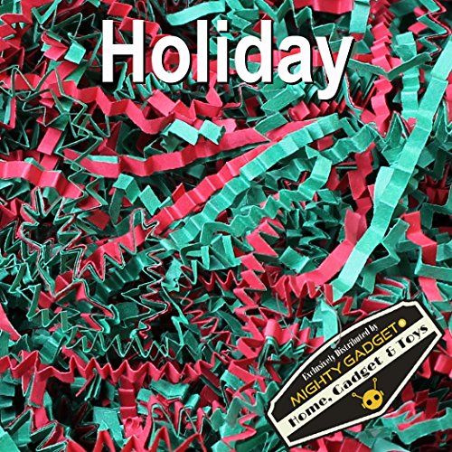 Mighty Gadget (R) 1 LB Holiday Mix Crinkle Cut Paper Shred Filler for Gift Wrapping & Basket Filling (Red & Green) (Red Gift Basket)