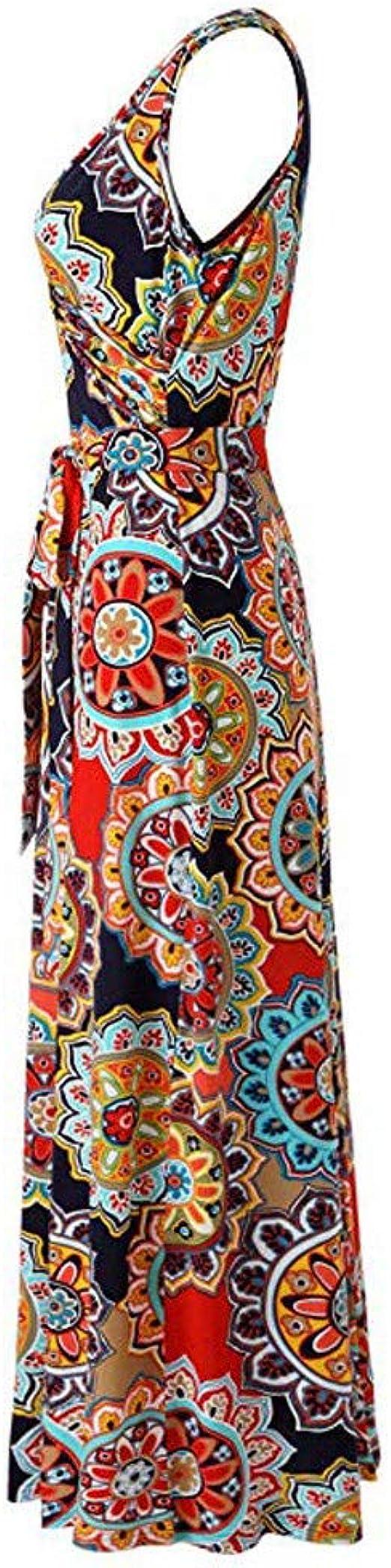 MERICAL - Vestido Largo sin Mangas con Flores para Mujer Azul ...