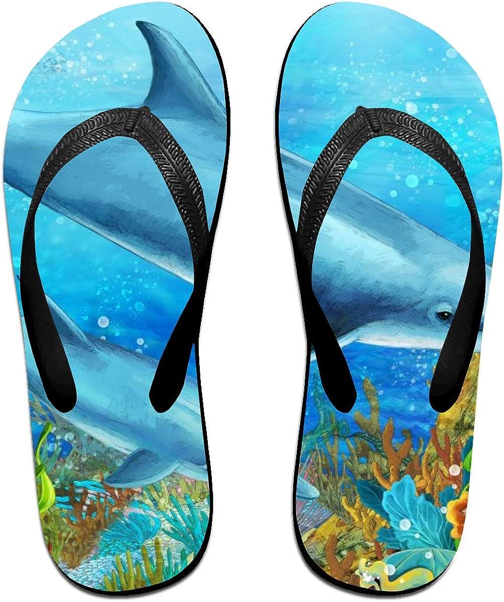 Amesage Submarine Sharks and Coral Reefs Men's and Women's Flip-Flops Summer Beach Slippers, Flip-Flops