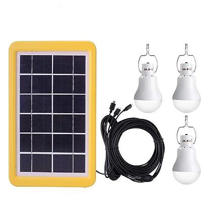 WULAU Bombilla portátil para Acampar, Cobertizo con energía Solar ...