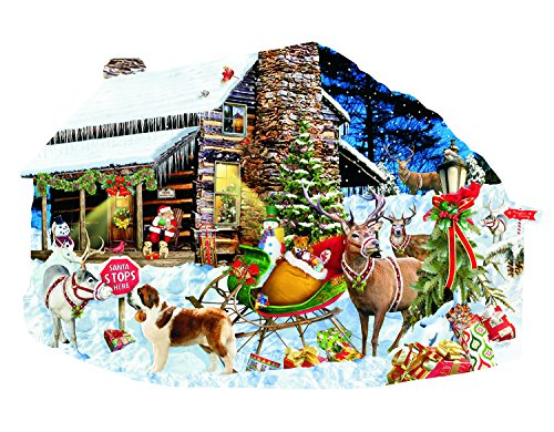 Santa's Rest Stop 1000 Pc Shaped Jigsaw Puzzle by SunsOut