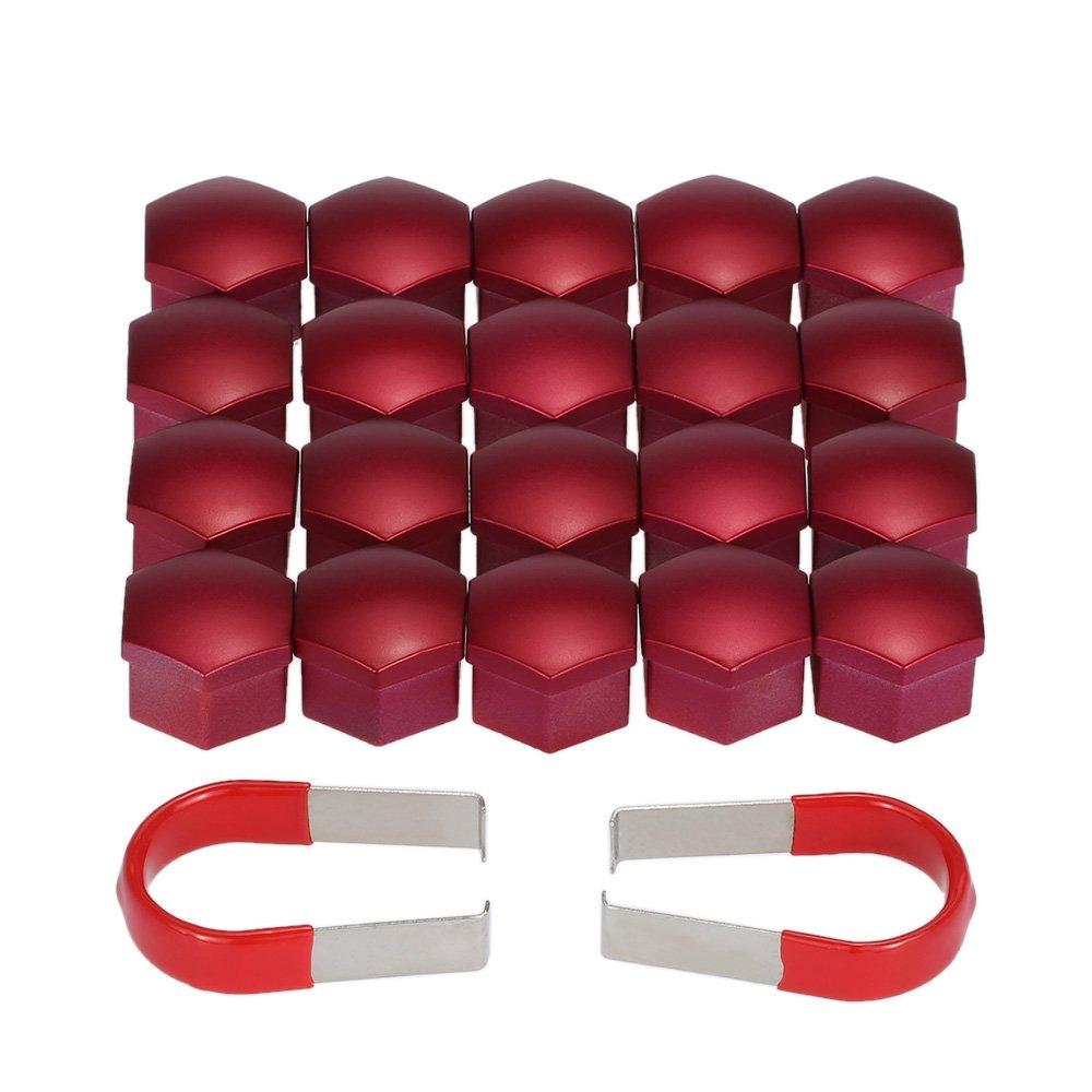 KKmoon Ensemble de 20pcs Universelle 17mm Chrome Voiture en Plastique Roue é crou Cache-boulons de Couvertures Rouge