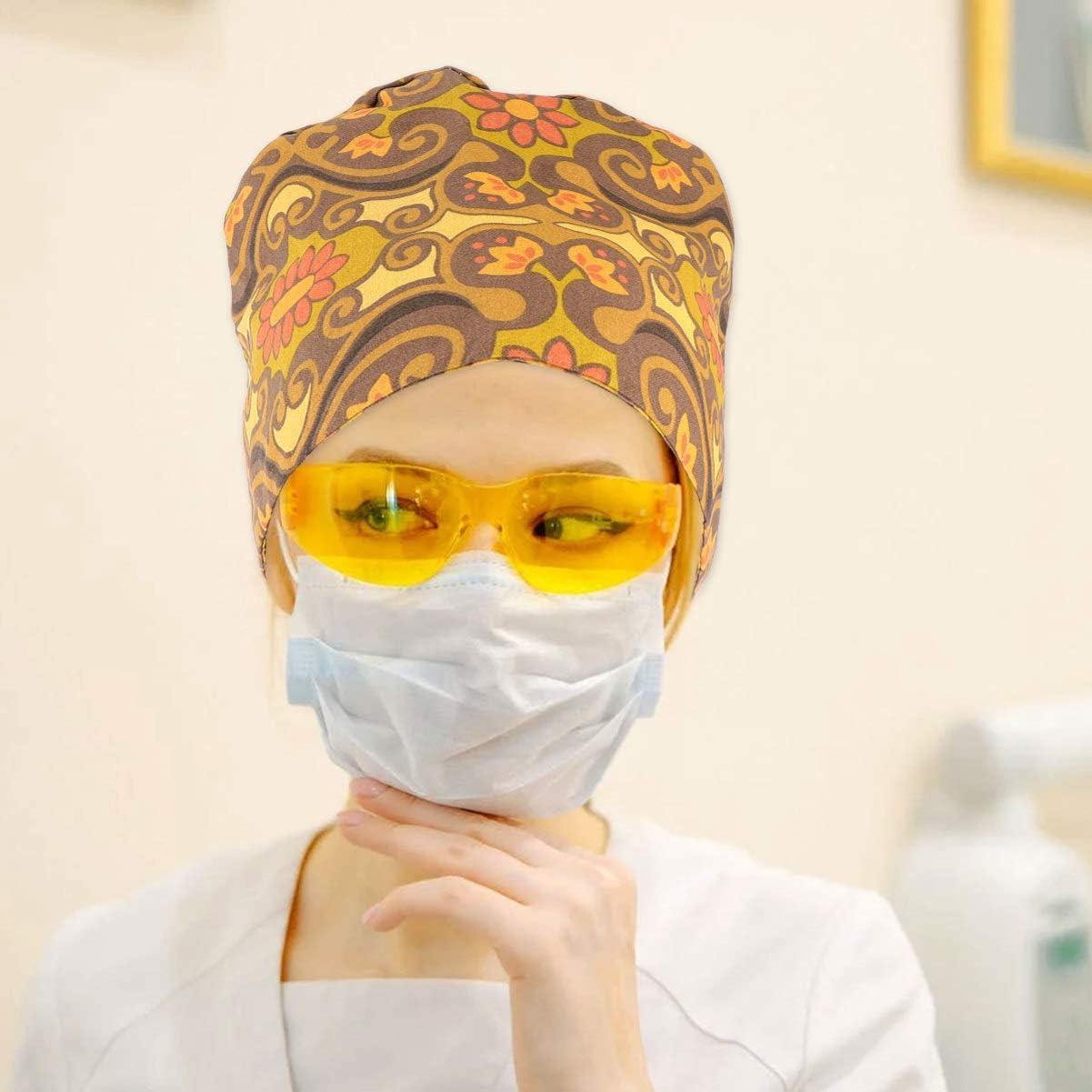 PRETYZOOM Printed Doctor Surgical Scrub Hat Nurse Scrub Cap Bouffant Turban Cap for Women Men