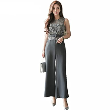 a132850efb87 Amazon.com  Missrooney New Women Lace Patchwork Jumpsuits Sleeveless Rompers  Ladies Summer Tall Waist Womens Jumpsuit  Clothing