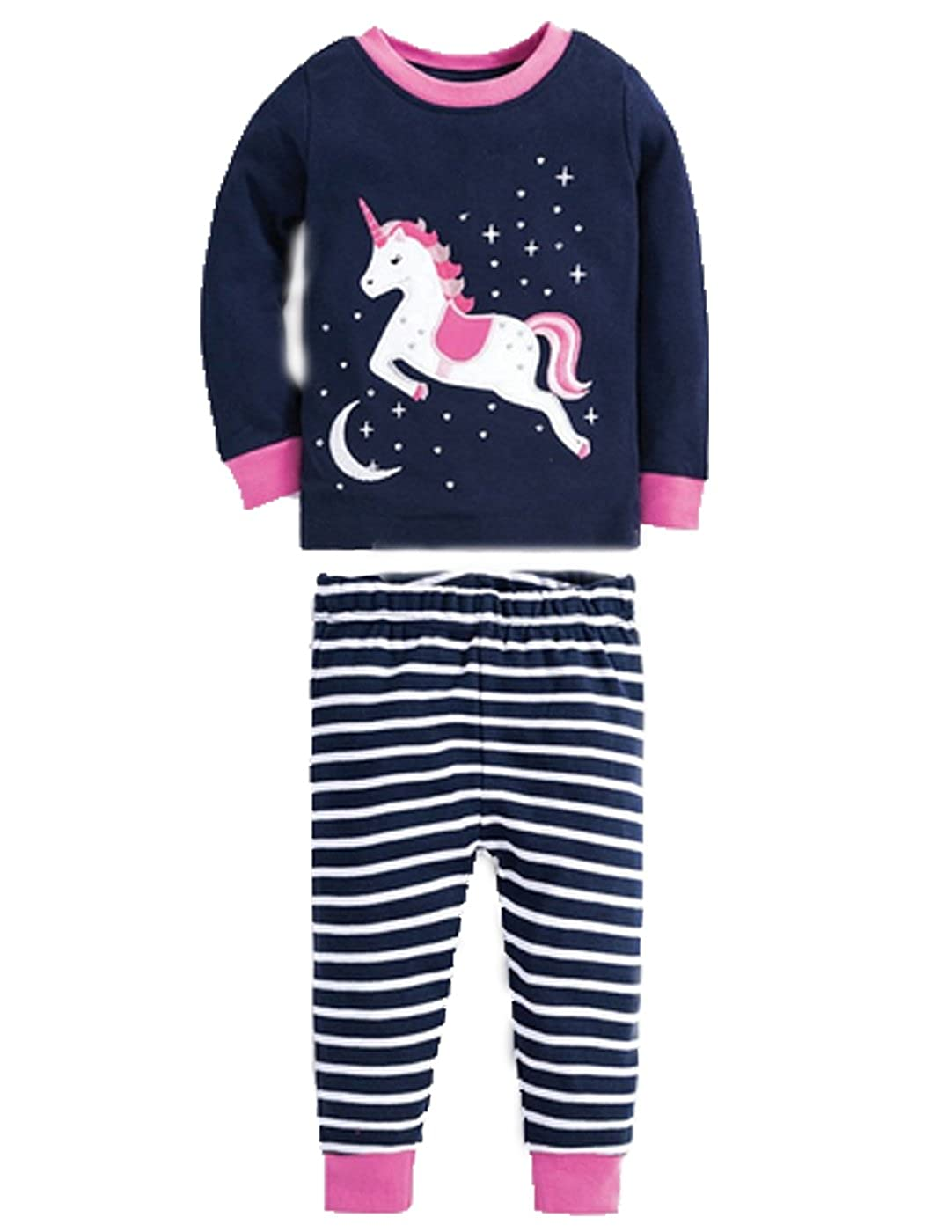f87e7f9cd6 Amazon.com  Kevin s Mart 68 Little Girls Horse Pajamas Set Children  Christmas PJs 100% Cotton Sleepwear Size 2 to 7 Years  Clothing