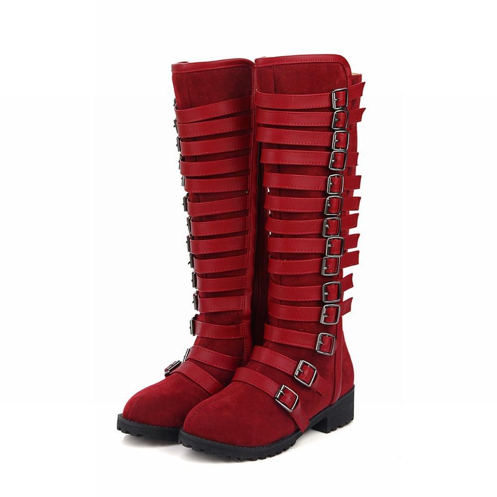 Carolbar Women'S Multi Buckle Heel Zip Knee High Low Heel Buckle Riding Tall Boots B01MFERAPR 11 B(M) US|Deep Red 027bb0