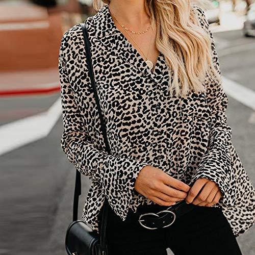 Verano Camisa Grandes Sin Larga Cremallera Tops Mujer Leopardo Estampado Tallas Bolsillo Casual Fresco ❤️ Brown Color Slim Summer Manga Liso Caliente Yesmile xqgCRXEwW