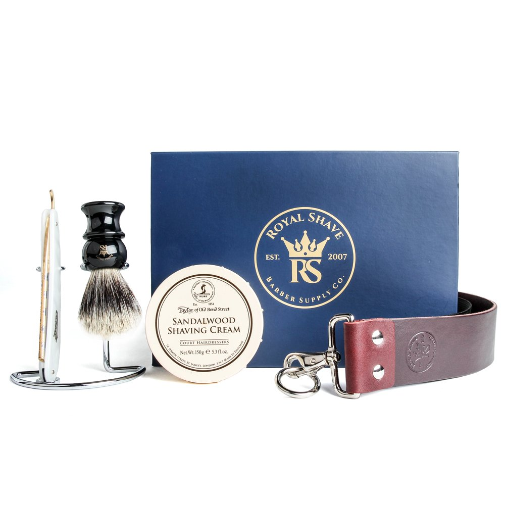 Dovo Pearlex Full Hollow 5/8'' Straight Razor Shaving Set - Complete Shave Kit for Men!