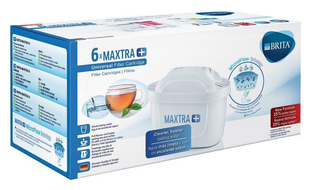 Brita Maxtra + Seis Filtros para El Agua, Cartuchos de Filtrado para El Agua Recambios Compatibles con Jarras Brita que Reducen la Cal y El Cloro