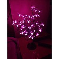 Luminária Árvore Flor De Cerejeira 48 Leds Abajur Bivolt Rosa