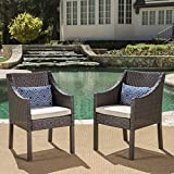 Antioch Outdoor Wicker Dining Chairs with Water Resistant Cushions (Set of 2) (Multi-Brown/Beige) For Sale