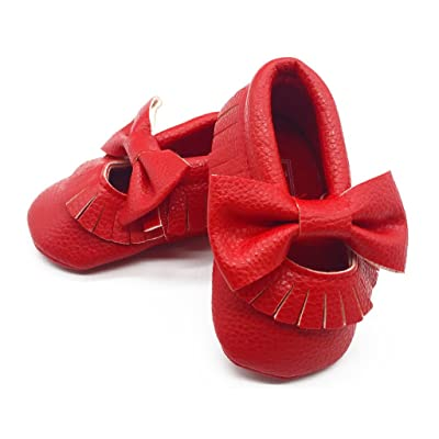 Royal Cutie Baby Mary Jane Moccasins Crib Shoes First Walkers - Red