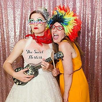 Shinybeauty Pailletten Hintergrund Fotografie Glitzer Pailletten Vorhänge Panele Für Hochzeit Photobox Hintergrund Pink Gold 8ftx8ft Küche Haushalt