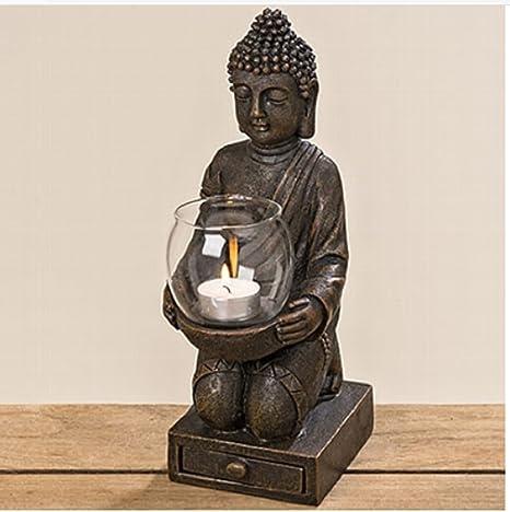 Buda figura knieend con portavelas en las manos aprox. 30 cm de altura  Resina Decoración f5ffe8fa515