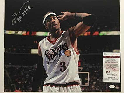 5a1e6f2bba8 Autographed/Signed Allen Iverson HOF 2K16 Hand Over Ear Philadelphia 76ers  Sixers 16x20 Basketball Photo