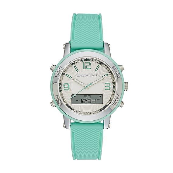 41eb6e8694c Skechers SR6001 Reloj Análogo Digital Multifunción para Mujer Extensible de  Silicon