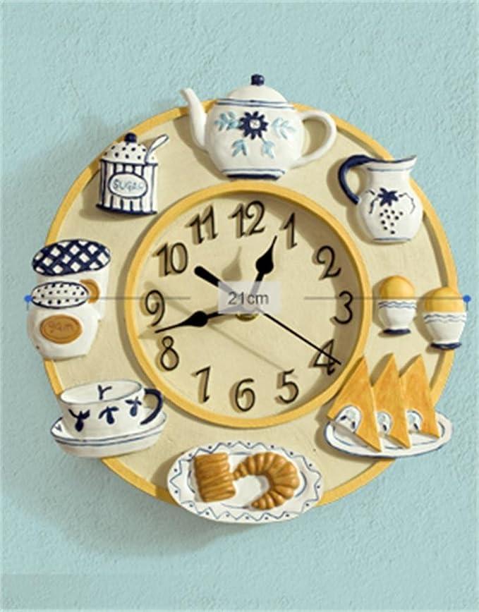 Creative Light- 8 pulgadas (21 cm) de resina sala de estar de moda creativa personalidad de la moda Relojes de arte europeos pastorales reloj de pared de la ...