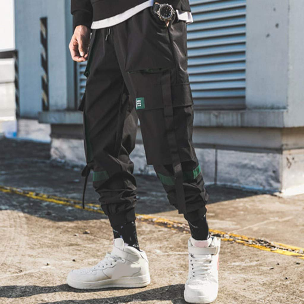 Hopwin Mens Cargo Joggers Sweatpants Fashion Workout Fitness Casual Pants for Men Multi Pocket Sport Active Trousers