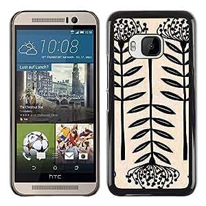 For HTC One M9 , S-type® Art Blossom Black White Simplistic - Arte & diseño plástico duro Fundas Cover Cubre Hard Case Cover
