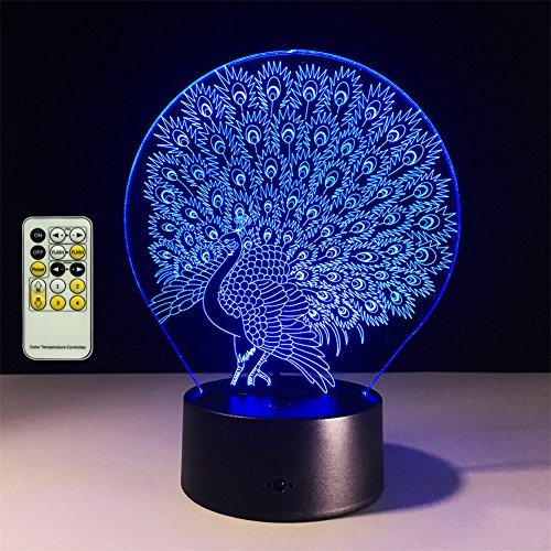 TRADE Multicolor Gradient Peacock Open Screen 3D Visualization Engrave Battery or USB Powered LED Touch Remote Control Desk Lamp Romantic Bedroom Bedside Decoration Night (Peacock Modern Table Lamp)