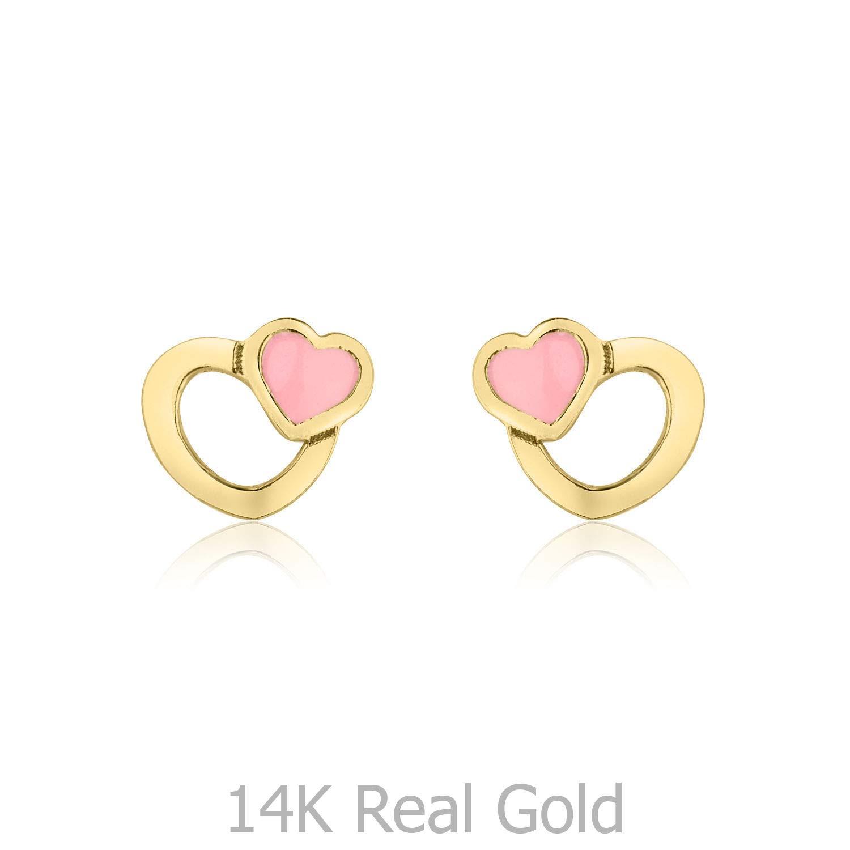 14K Solid Yellow Gold Enamel Heart Screw Back Stud Earrings for Girls Gift Children Kids