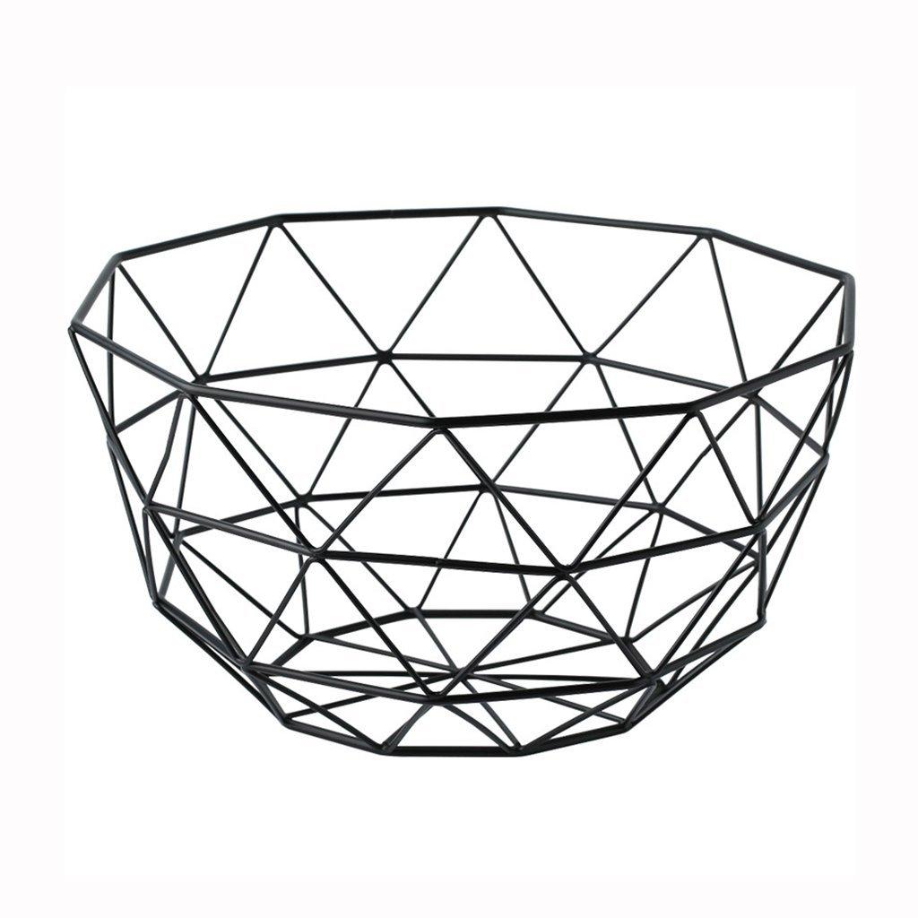 He Xiang Ya Shop Black iron storage basket simple living room hollow fruit basket desktop storage rack decorative ornaments